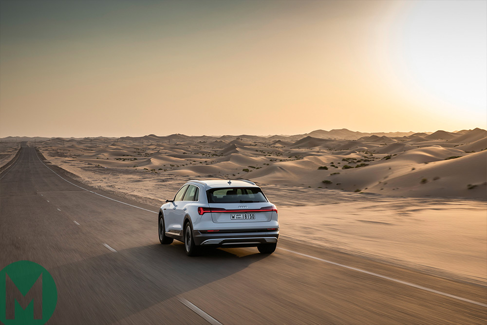 Audi e-tron on the road