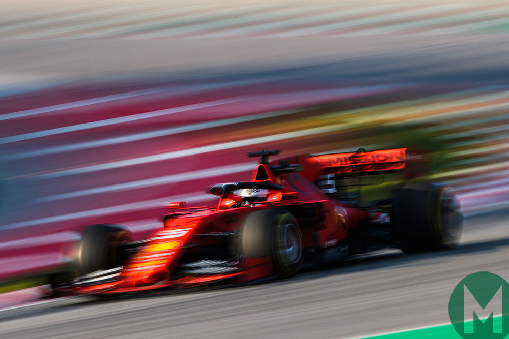 Sebastian Vettel in his Ferrari SF90 in 2019's opening Barcelona test