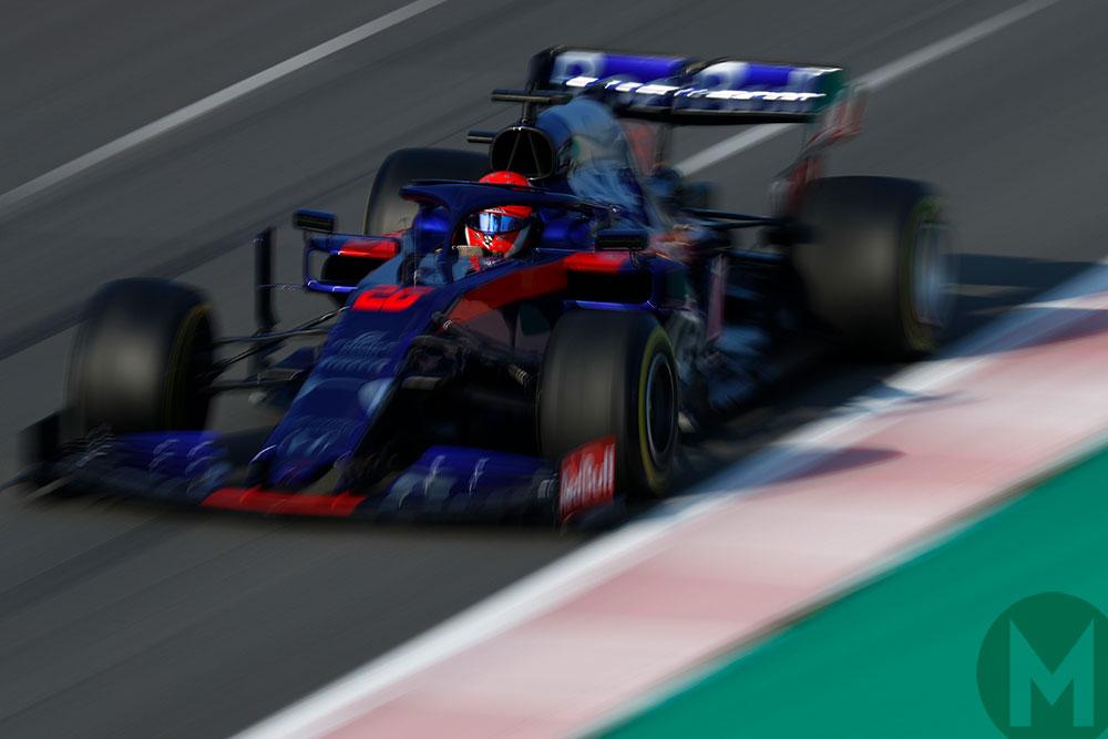 Daniil Kvyat in the Toro Rosso in day 3 Barcelona testing 2019