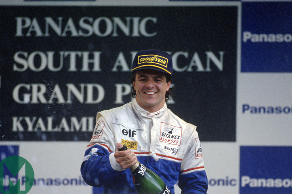 Mark Blundell celebrates third place in the 1993 South African Grand Prix