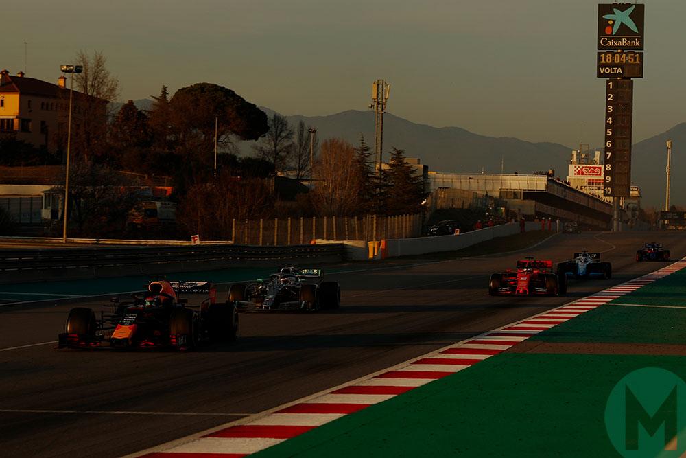 Pierre Gasly, Valtteri Bottas and Sebastian Vettel in 2019 Barcelona testing