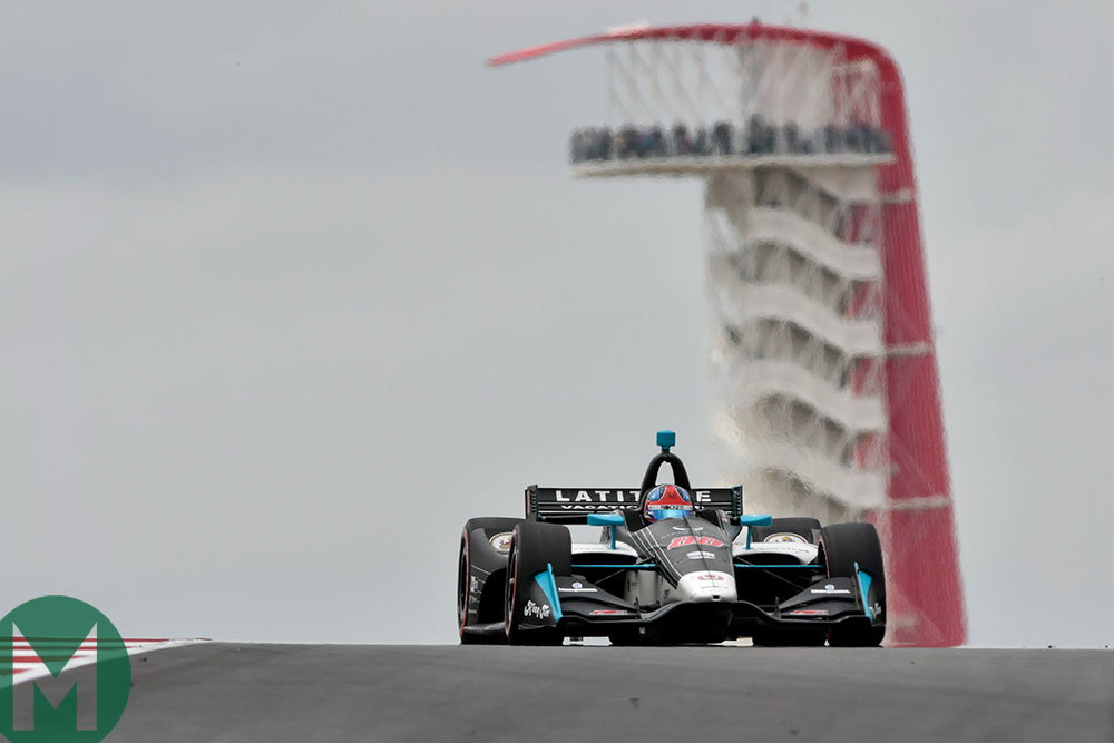 Colton Herta of Steinbrenner Harding Racing on the way to victory at Austin