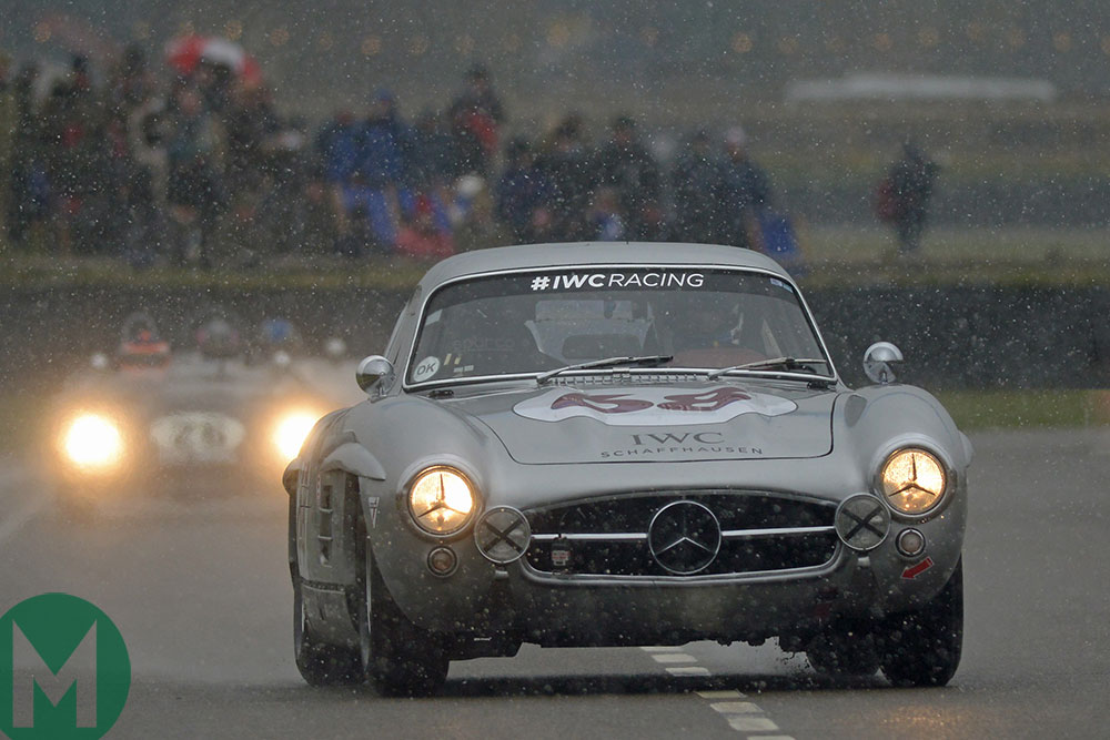 David Coulthard in the Mercedes 300 SL Gullwing in the 2018 Goodwood Members' Meeting