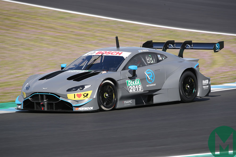 Paul di Resta rolls-out the new 2019 DTM Aston Martin Vantage at Jerez
