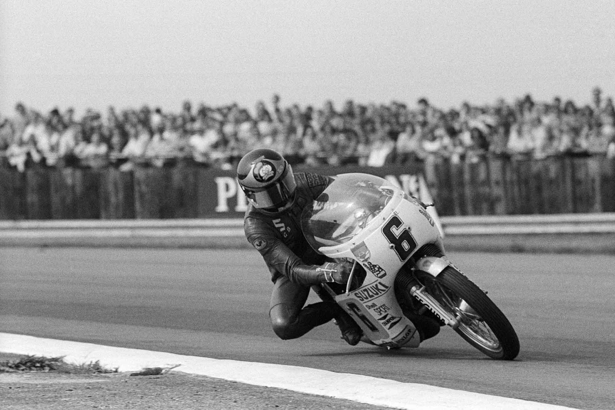 Barry Sheene on his Yamaha at 1973 British Grand Prix Silverstone