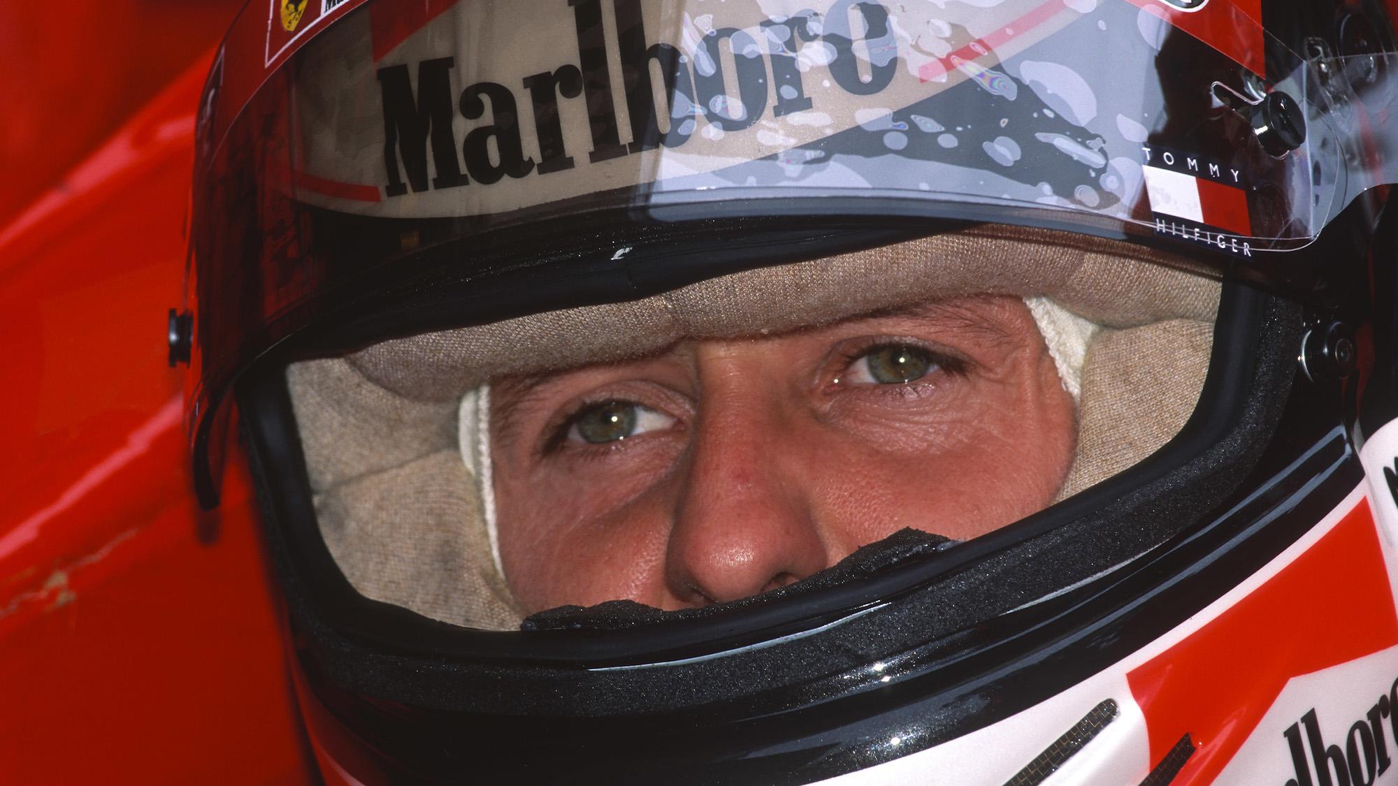 Michael Schumacher wearing his helmet ahead of the 1999 Monaco Grand Prix