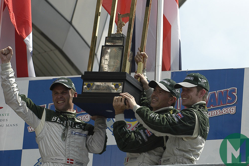 Kristensen, Smith and Capello celebrate 2003 Le Mans victory