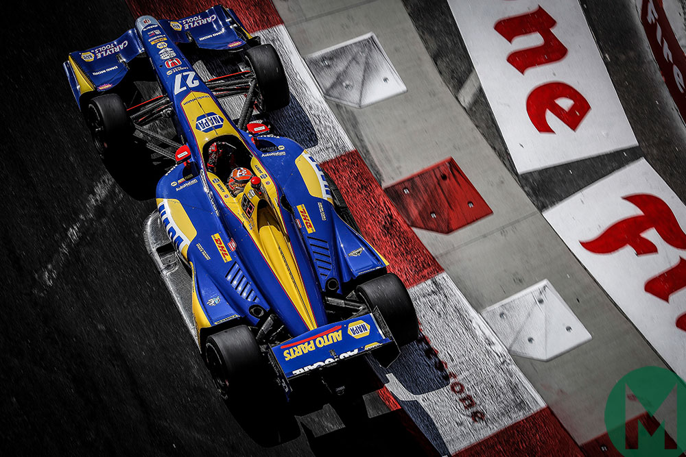 Alexander Rossi on the way to victory in the 2019 Long Beach Grand Prix