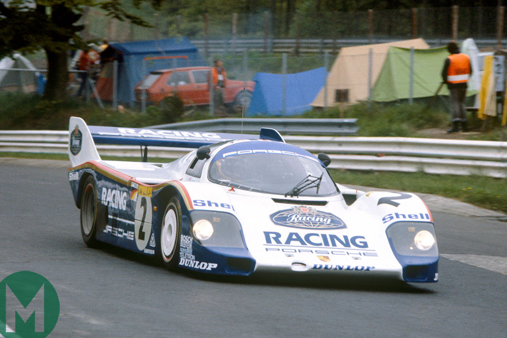 Stefan Bellof in a Porsche 956 at the Nurburgring in 1983