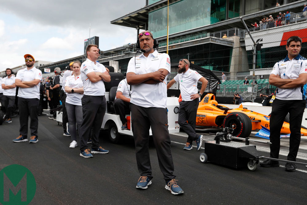 The McLaren team watches as Alonso is knocked out of qualifying for the Indy 500
