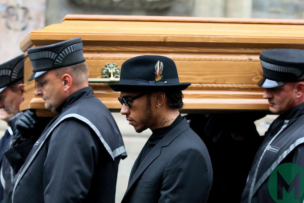 Lewis Hamilton at Mass ahead of Niki Lauda funeral