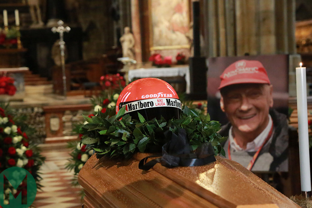 Niki Lauda's helmet on his coffin at Mass ahead of funeral