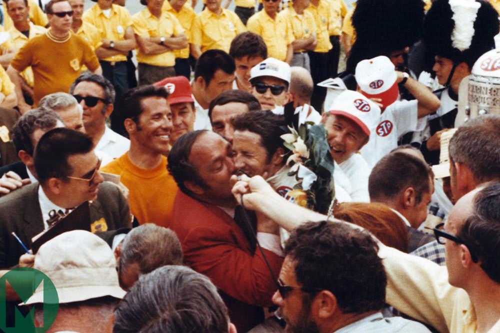 Mario Andretti celebrates his Indy 500 win