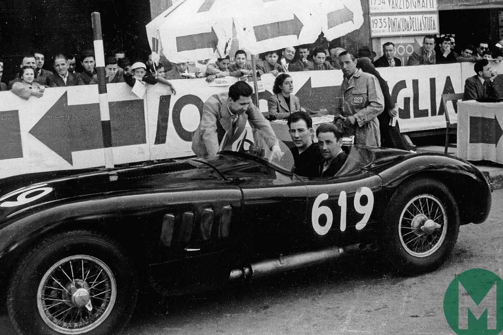 Norman Dewis and Stirling Moss at the 1952 Mille Miglia