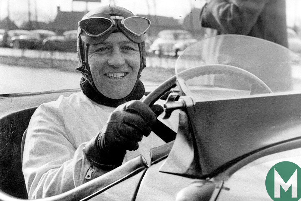 Norman Dewis at the wheel of a Jaguar XK120 in 1952