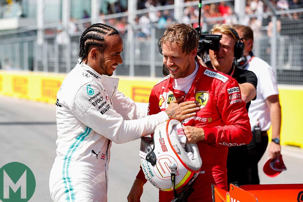 Lewis Hamilton congratulates Sebastian Vettel after qualifying for the 2019 Canadian Grand Prix
