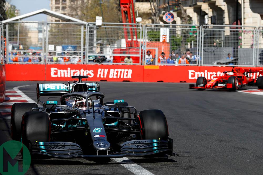 Lewis Hamilton leads Sebastian Vettel at the 2019 Azerbaijan Grand Prix