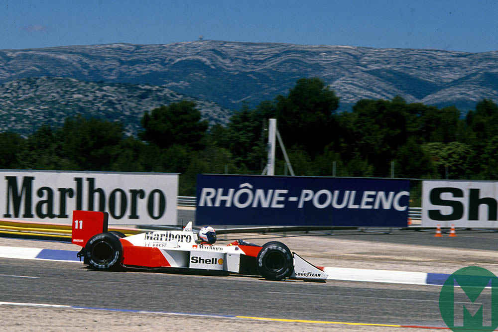 Alain Prost in a McLaren at Paul Ricard during the 1988 French Grand Prix