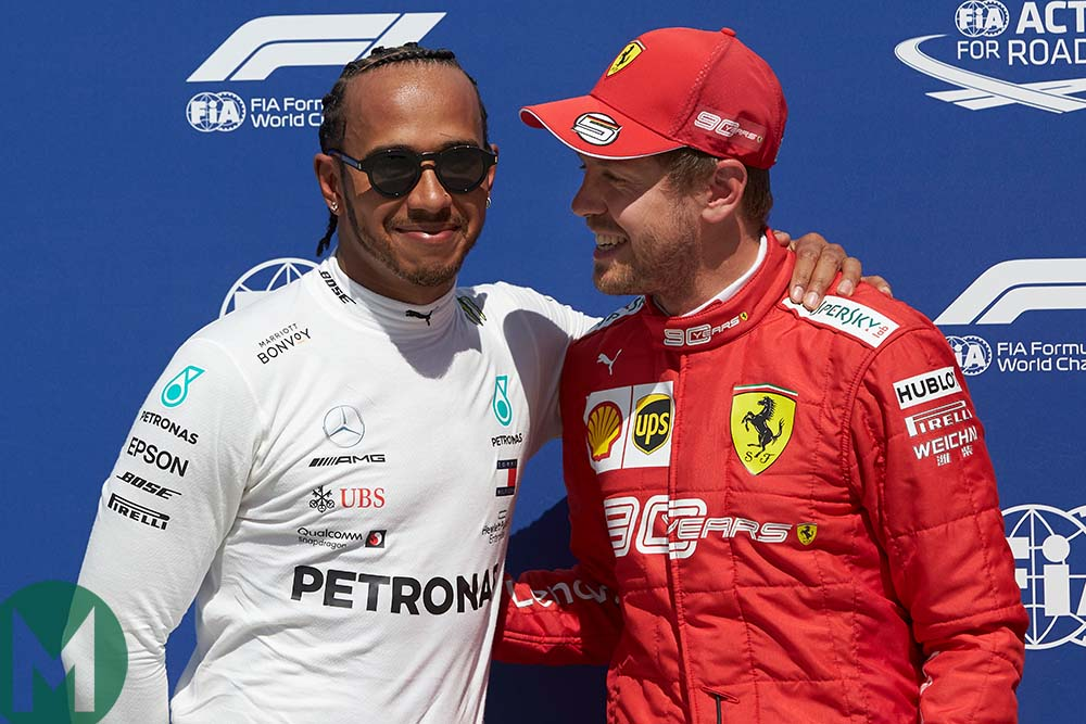 Hamilton and Vettel after qualifying at the 2019 Canadian Grand Prix
