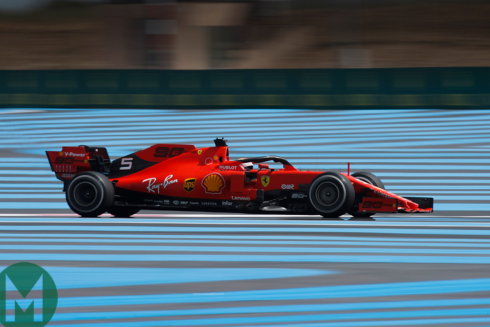 Vettel on his own on the track at the 2019 French Grand Prix