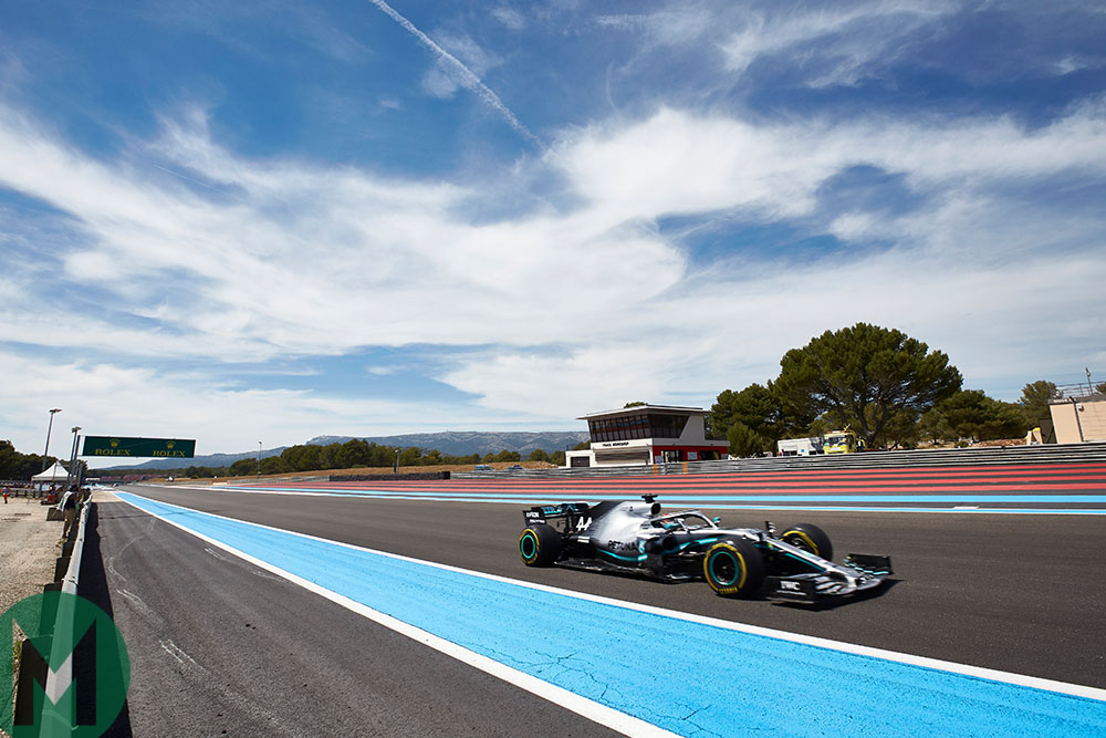 Lewis Hamilton with a large lead at the 2019 French Grand Prix
