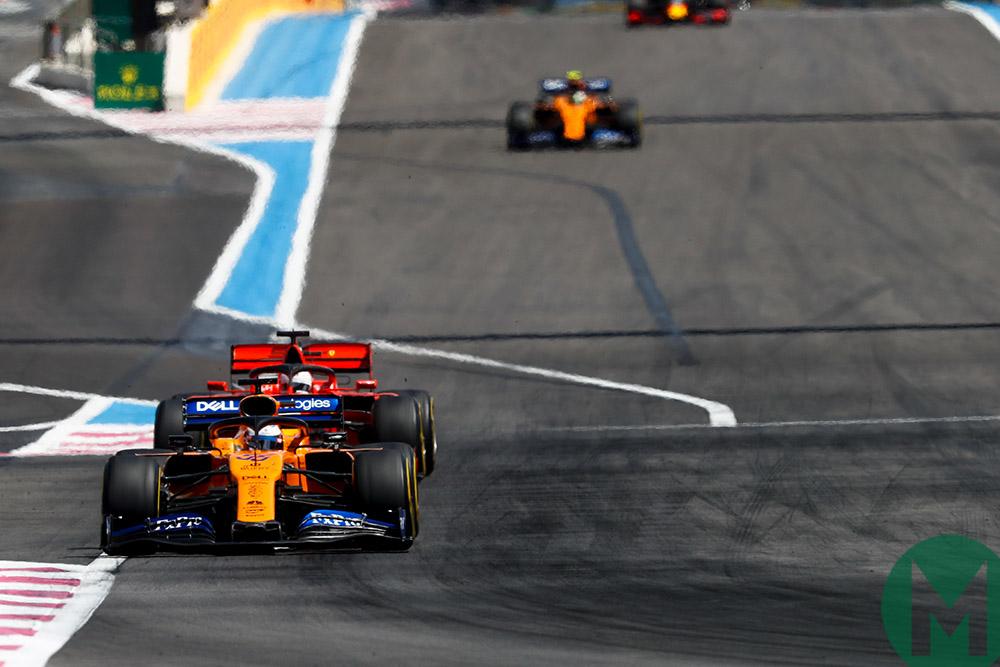 Sebastian Vettel behind Carlos Sainz at the 2019 French Grand Prix