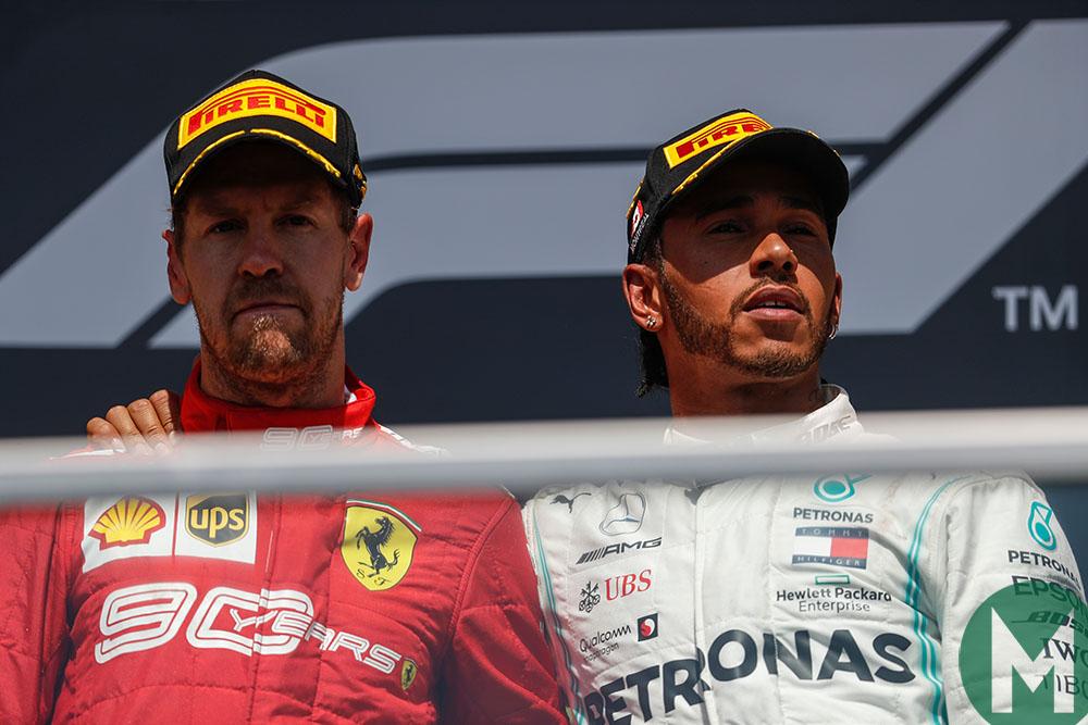 Hamilton and Vettel on the podium in the 2019 Canadian Grand Prix
