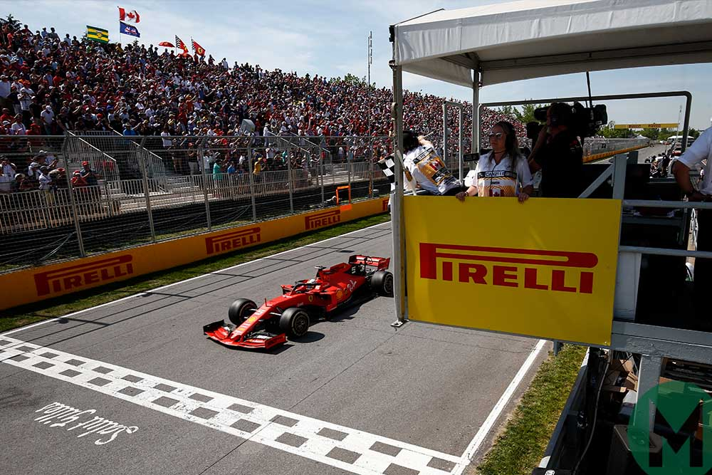 Vettel crosses the finish line first at the 2019 Canadian Grand Prix