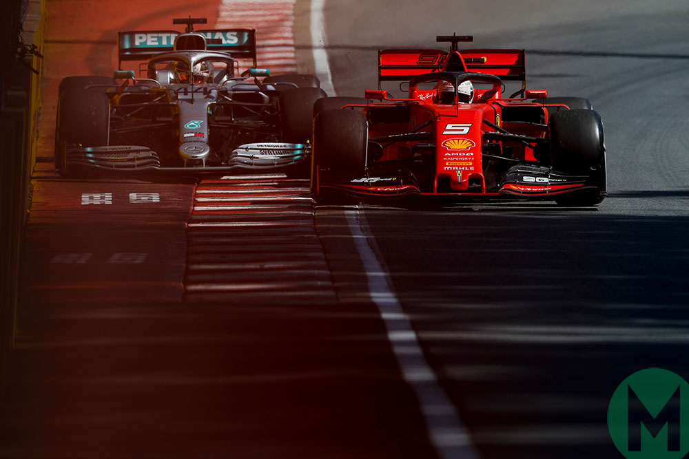 Vettel blocks Hamilton as he rejoins the track at the 2019 Canadian Grand Prix