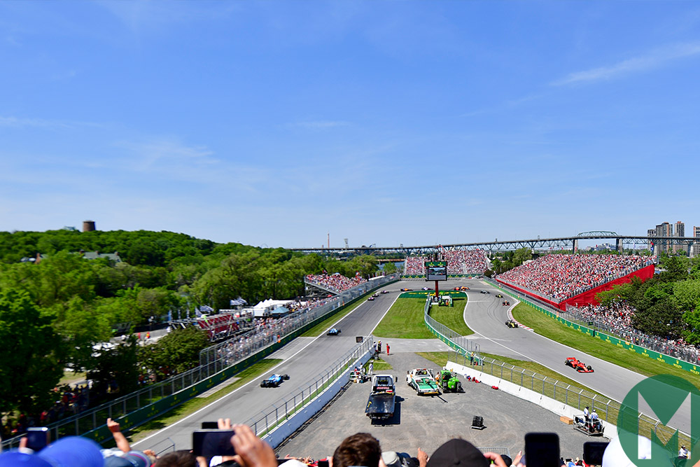 First lap of the 2019 Canadian Grand Prix at the hairpin