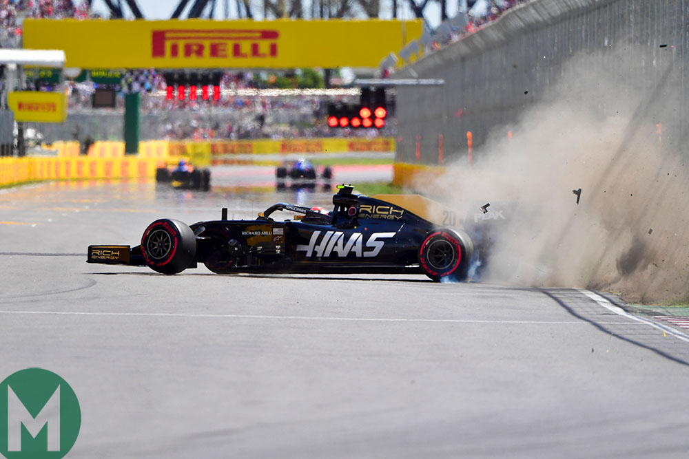 Kevin Magnussen crashes at the end of 2019 Canadian Grand Prix Q2