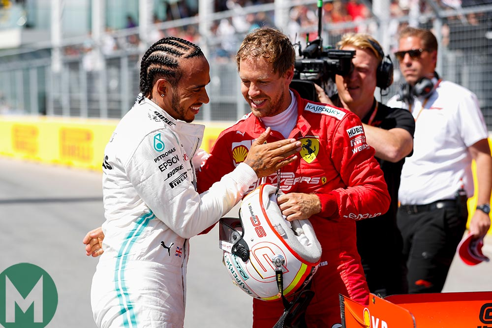 Hamilton and Vettel after 2019 Canadian Grand Prix qualifying