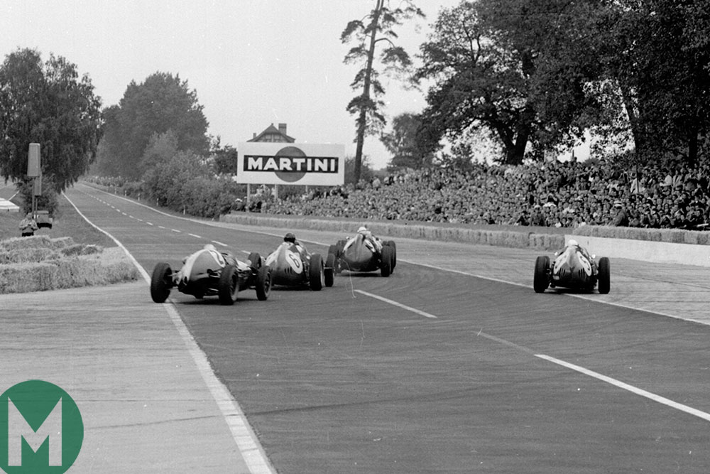 Bonnier, Gurney, Hill and McLaren set off on one of AVUS's lengthy straights