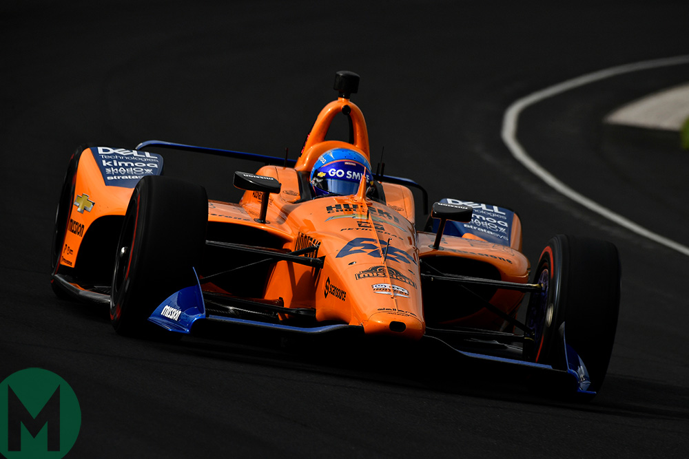 Fernando Alonso on track ahead of the 2019 Indy 500