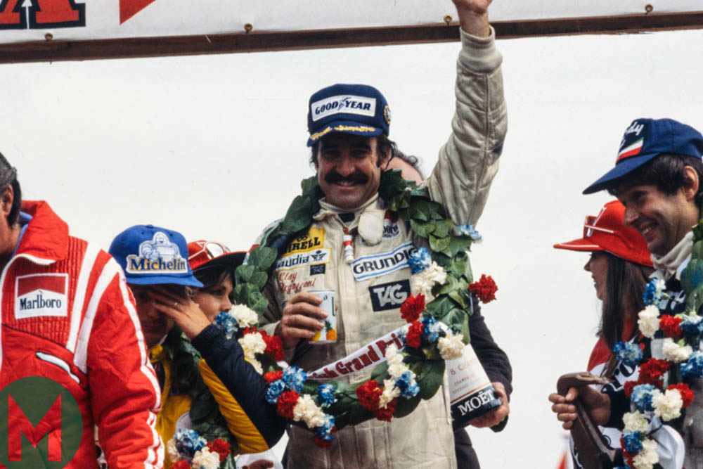 Clay Regazzoni on the top of the podium at the 1979 British Grand Prix