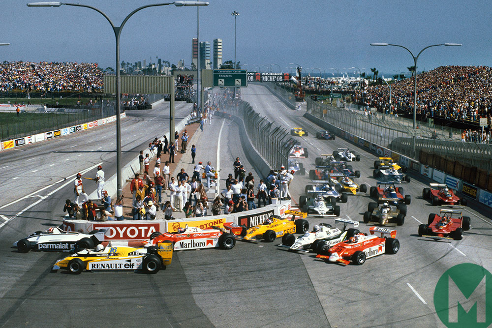 Ground effect design dominated F1 in the early 1980s - this is the start of the 1980 Long Beach Grand Prix