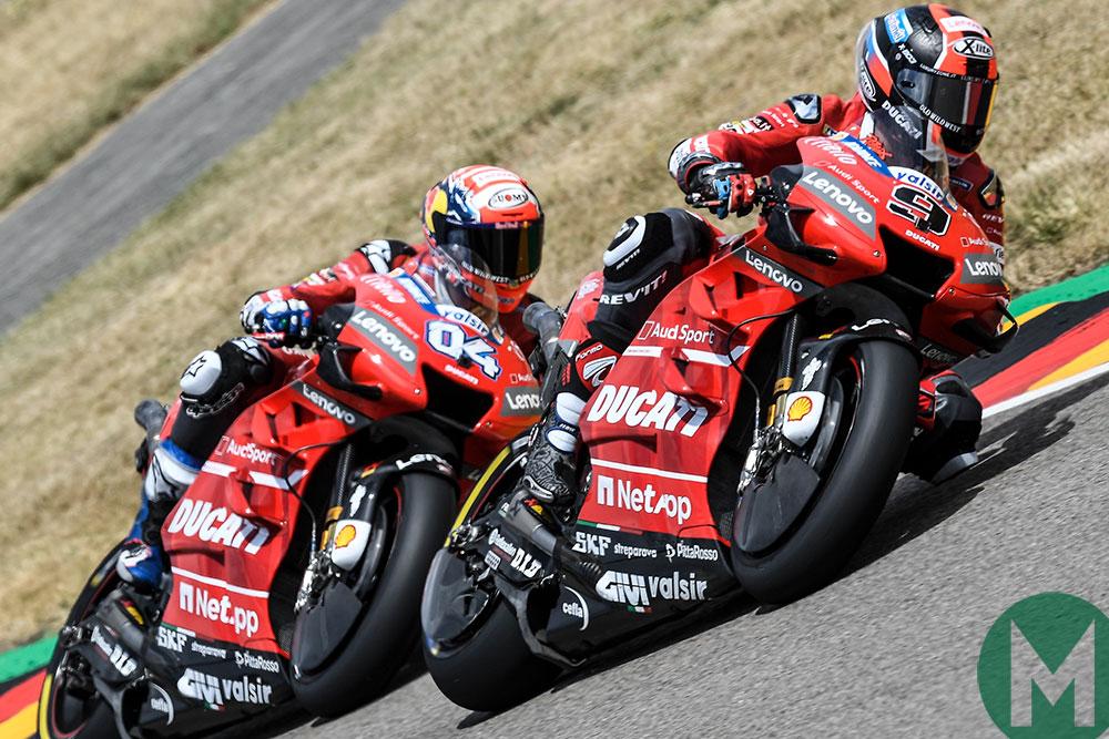 Danilo Petrucci leads fellow Ducati rider Andrea Dovizioso