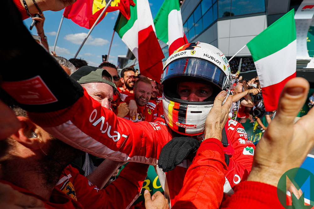 Sebastian Vettel celebrates 2018 British Grand Prix victory with the Ferrari team