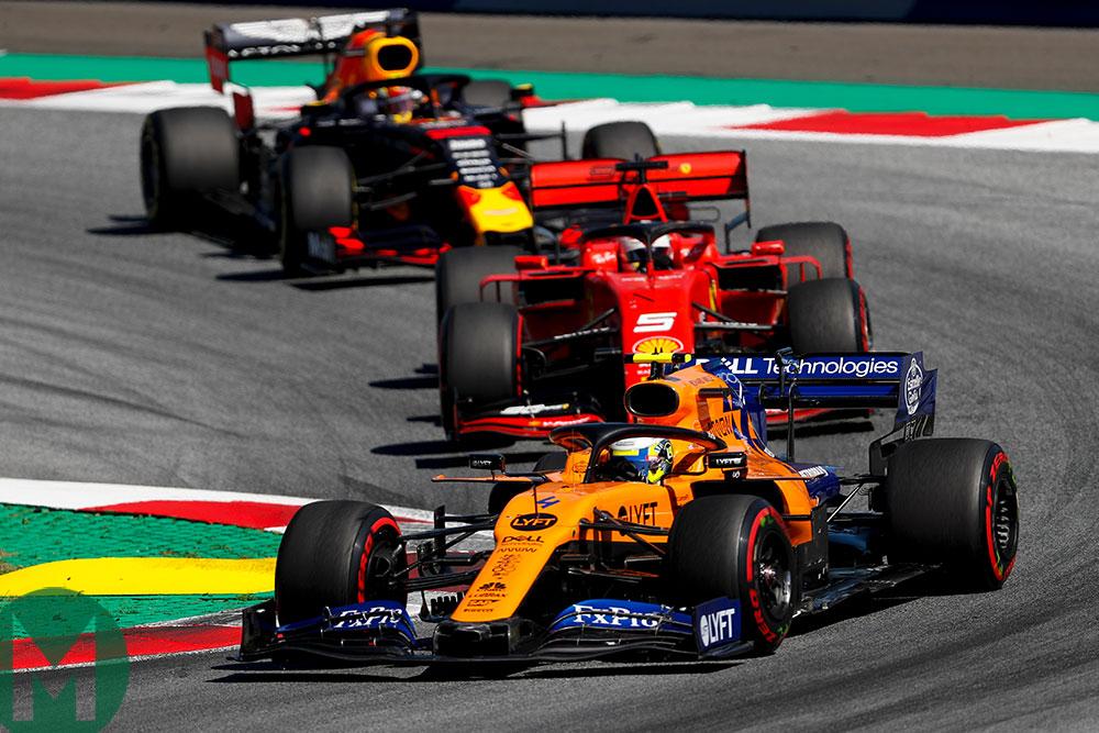 Lando Norris's McLaren dices with some big names in the Austrian Grand Prix