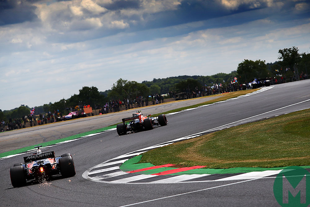 The McLarens of Fernando Alonso and Stoffel Vandoorne take the famous Becketts section in 2017