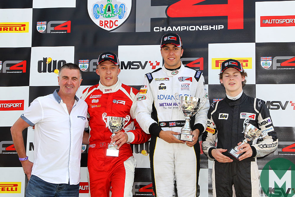 Martin Donnelly on the F4 podium at Snetterton in 2015