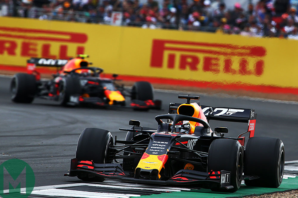Max Verstappen leads fellow Red Bull Pierre Gasly in the 2019 German Grand Prix