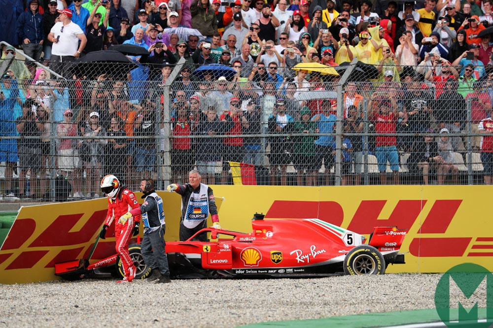 Vettel crashes out of the 2018 German Grand Prix