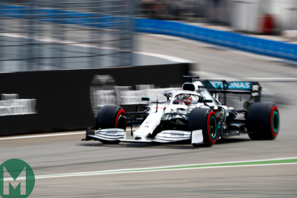 Lewis Hamilton during qualifying for the 2019 German Grand Prix