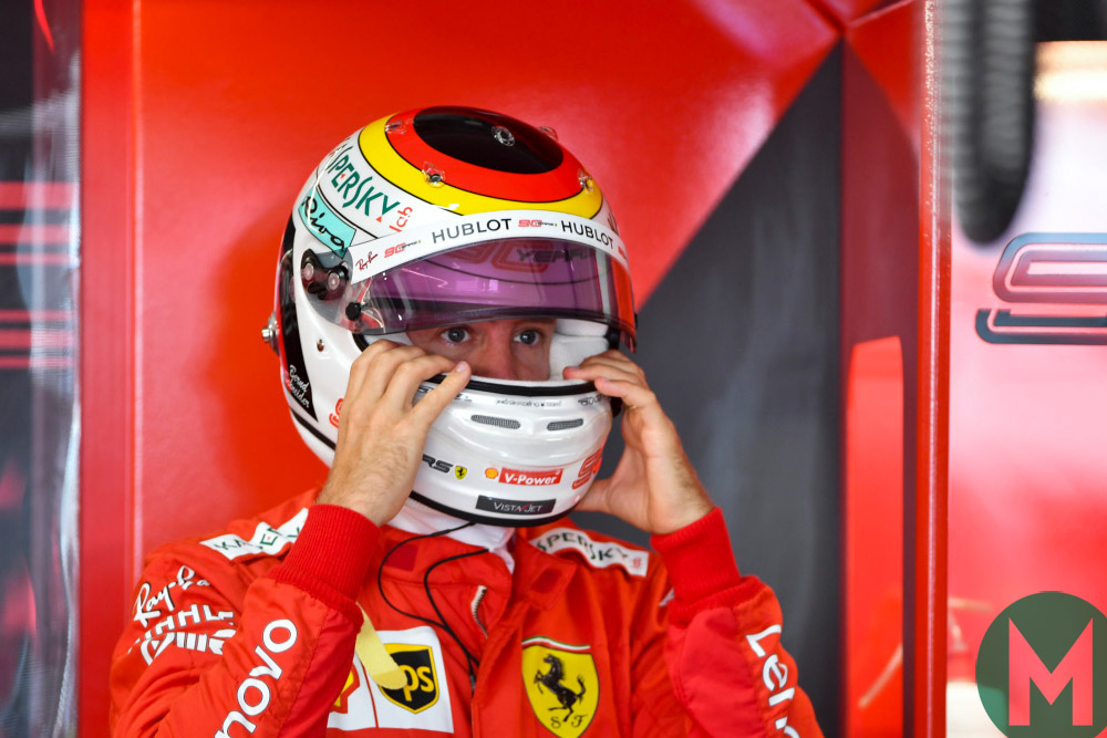 Sebastian Vettel's helmet paid tribute to Bernd Schneider at the 2019 German Grand Prix