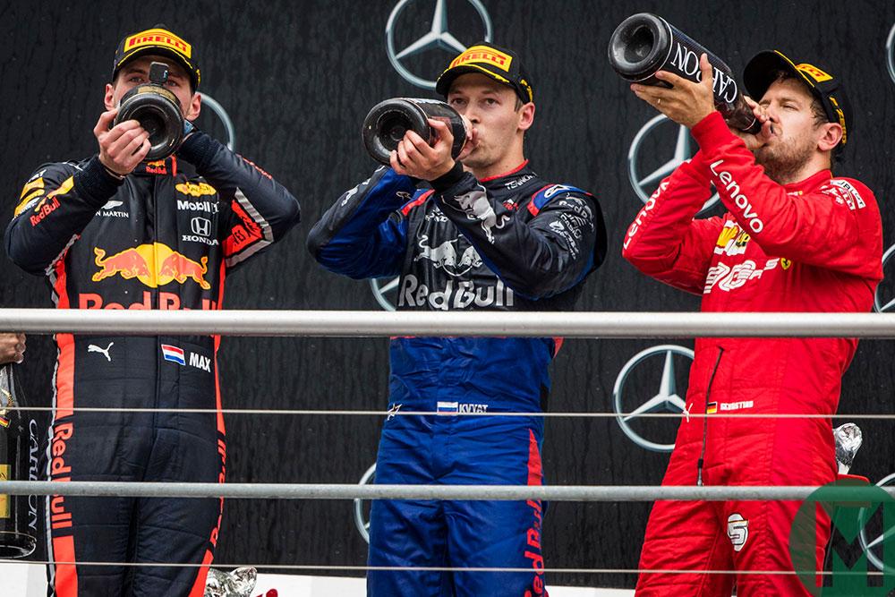 Verstappen, Kvyat and Vettel toast their podium finishes German GP 2019