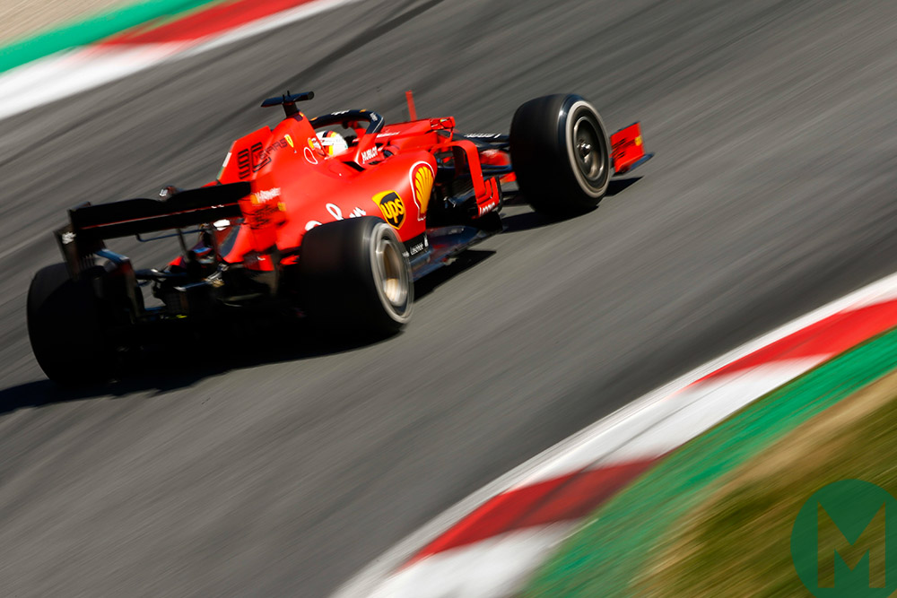 Sebastian Vettel at speed during the 2019 Austrian Grand Prix