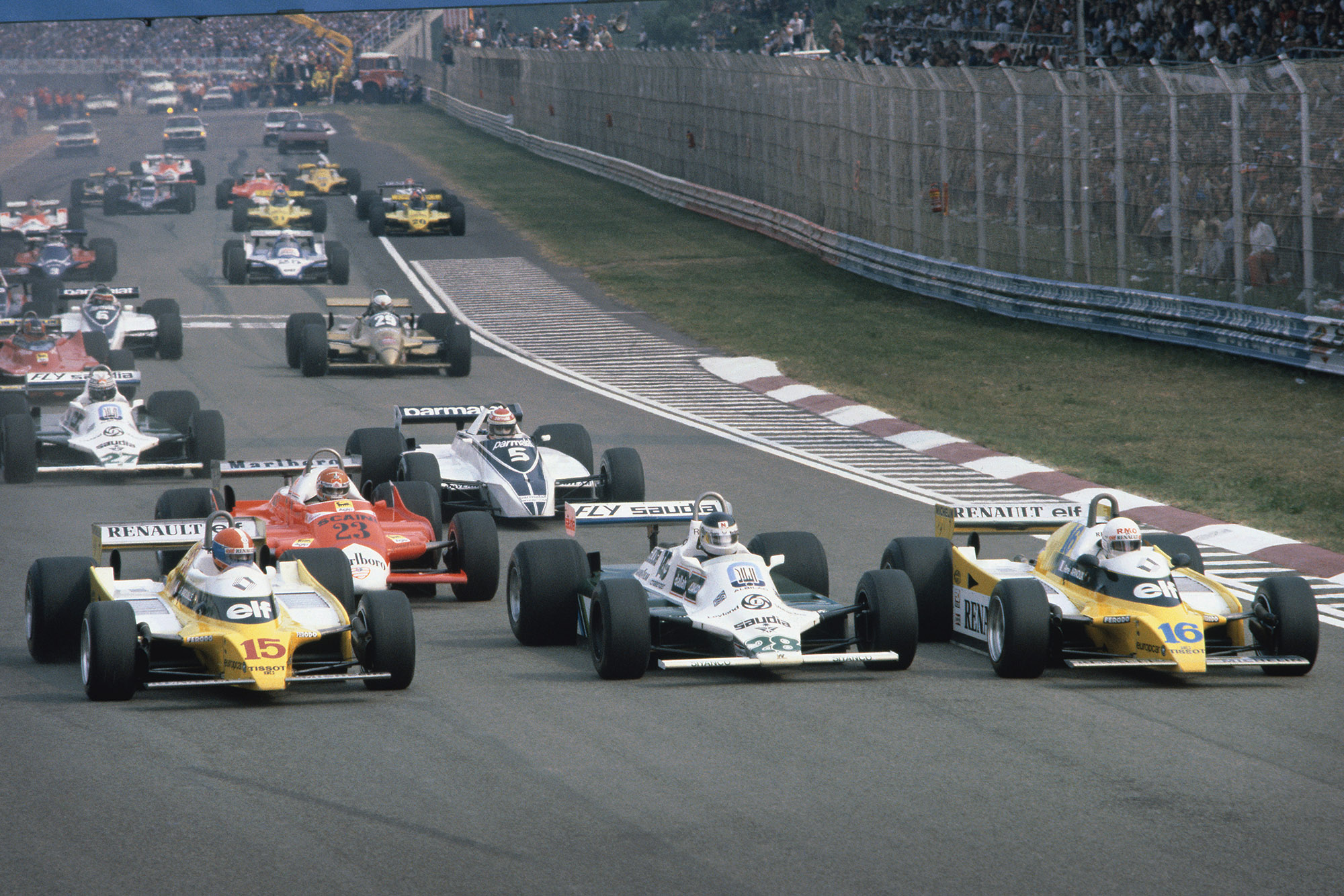 Ground effect cars at the start of the 1980 Italian Grand Prix
