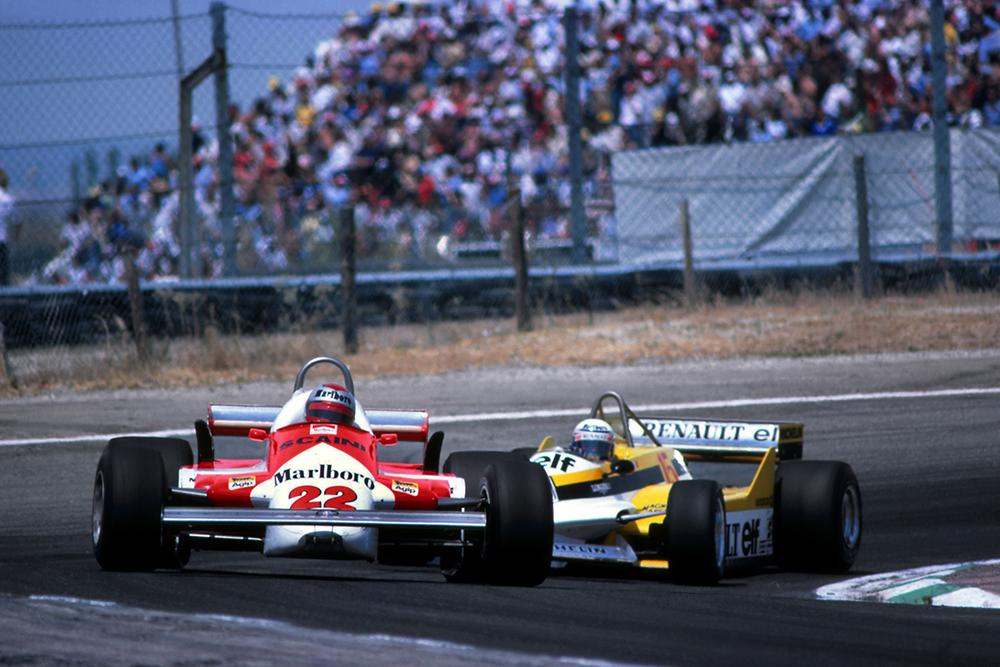 Mario Andretti (Alfa Romeo 179C) leads Alain Prost (Renault RE30).