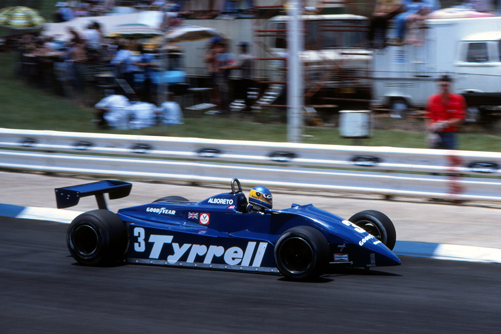 Michele Alboreto in a Tyrrell 011, finished seventh.